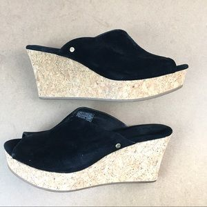 Ugg Black Suede Slip On Platform Wedge Sandals 7.5